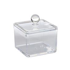Подставка 2194 стакан пластиковый прозрачный с крышкой маленький (под палочки ватные)