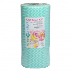 Салфетки косметологические сетка 30х50 (100шт) Салатовая волна 50г/м2 спанлейс рулон CleanComfort