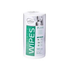 Салфетки косметологические гладкие 15х15 (100шт) белые 50г/м2 спанлейс рулон Etto