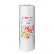 Салфетки косметологические гладкие 40х40 (100шт) белые 40г/м2 спанлейс рулон CleanComfort
