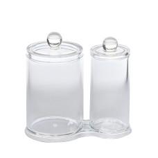 Подставка FT-015 под палочки и диски ватные (2-стакана пластик прозрачный)