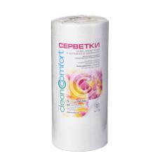 Салфетки косметологические гладкие 25х30 (100шт) белые 50г/м2 спанлейс рулон CleanComfort