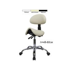 Стул-седло для мастера мод. 1037-3 со спинкой, бежевый