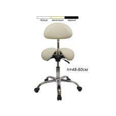 Стул-седло для мастера мод. 4008-1 с разделенным сидением, со спинкой, бежевый