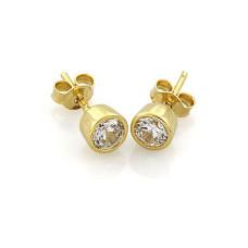 Серьги  Caflon Gold Кристалл завальцованные большие L204Y апрель