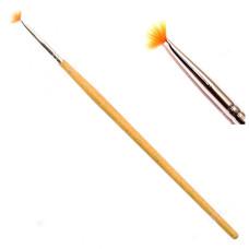 Кисть косметологическая веерная Мини длинная ручка VK-04