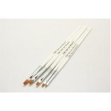 Набор длинных кистей 5шт с белой ручкой YRE Nail Art - шт