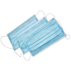 Маски 3 слоя на резинке - голубые гипоаллергенные (50шт в уп)