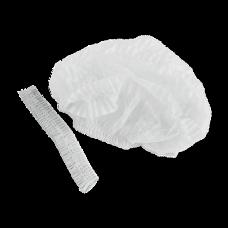 Шапочка одуванчик одноразовая белая (100шт/уп) двойная резинка