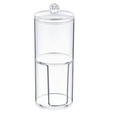 Диспенсер под диски ватные круглый сборный из 2-х стаканов с крышкой пластиковый прозрачный FT-014