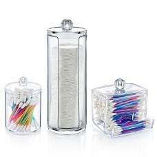 Набор диспенсеров 3 в 1 под диски ватные и палочки пластиковый прозрачный FT 011